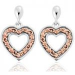 Clogau Earrings One Drop Stud Silver and Rose Gold