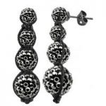 Tresor Paris Earrings Grey Crystal Drop