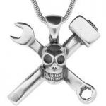 Unique Gothic Necklace Skull With Crossed Spanner & Hammer Silver Small