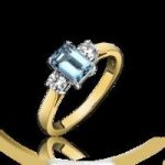 Aquamarine Ring Emerald Cut And Diamond 18ct Yellow Gold