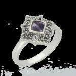 Blue John Ring Square Centred Beaded Edge Marcasite And Silver