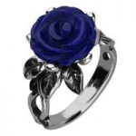 Blue Lapis Ring Tuberose Rose Leaf Twist Silver