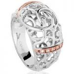 Clogau Ring Am Byth Silver, Rose Gold and Diamond O