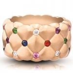 Faberge Treillage Multi Coloured Rose Gold Matt Wide Ring