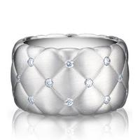 a42ebe892 Faberge Treillage Ring Diamond 18ct White Gold Matt Wide   Luxury ...