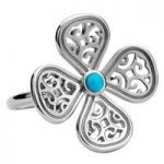 Rebecca Sellors Ring Flore 4 Petal Turquoise Silver