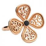 Rebecca Sellors Ring Flore 4 Petal Whitby Jet 9ct Rose Gold