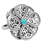 Rebecca Sellors Ring Flore 8 Petal Turquoise Silver