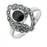 Whitby Jet Ring Round Centre Twisted Marquise Silver