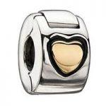 Chamilia Charm Gold Heart Lock Silver