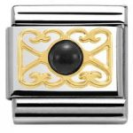 Nomination Charm Composable Classic 4 Heart Black Agate Steel