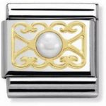 Nomination Charm Composable Classic 4 Heart White Agate Steel