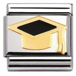 Nomination Charm Composable Classic Back to School Black Graduate Hat Steel