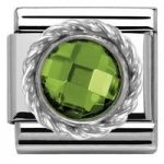 Nomination Charm Composable Classic Cubic Zirconia Round Faceted Stones Green Steel