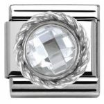 Nomination Charm Composable Classic Cubic Zirconia Round Faceted Stones White Steel