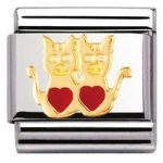 Nomination Charm Composable Classic Earth Animals 1 Cats with Heart Steel