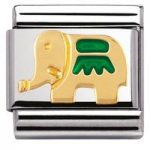 Nomination Charm Composable Classic Earth Animals Green Elephant Steel