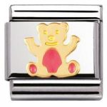 Nomination Charm Composable Classic Earth Animals Light Pink Bear Steel