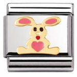 Nomination Charm Composable Classic Earth Animals Pink Rabbit Steel