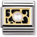 Nomination Charm Composable Classic Elegance Black Hearts with Pearl Steel