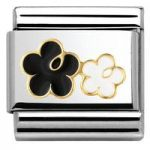 Nomination Charm Composable Classic Elegance Double Flower Black and White Steel