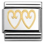 Nomination Charm Composable Classic Elegance Double Heart with Decoration White Steel