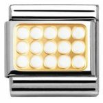 Nomination Charm Composable Classic Elegance Engraved Grill White Steel
