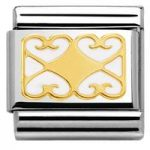 Nomination Charm Composable Classic Elegance Engraved Heart with Decorations Plaque White Steel