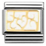 Nomination Charm Composable Classic Elegance Engraved Interlocking Hearts White Steel