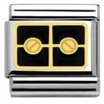 Nomination Charm Composable Classic Elegance Engraved Plaque with 2 Screws Black Steel