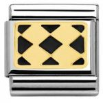 Nomination Charm Composable Classic Elegance Engraved Plaque with 4 Rhombuses Black Steel