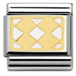 Nomination Charm Composable Classic Elegance Engraved Plaque with 4 Rhombuses White Steel