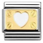 Nomination Charm Composable Classic Elegance Engraved Plate with Heart and Screws White Steel