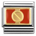 Nomination Charm Composable Classic Elegance Engraved Red Plate with Screw Steel