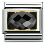 Nomination Charm Composable Classic Elegance Faceted Black Cubic Zirconia Steel