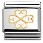 Nomination Charm Composable Classic Elegance Four-leaf Clover with Heart White Steel