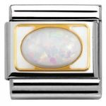 Nomination Charm Composable Classic Elegance Hard Stones White Opal Steel