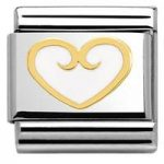 Nomination Charm Composable Classic Elegance Heart with Decoration White Steel