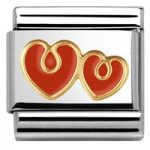 Nomination Charm Composable Classic Elegance Red Double Heart Steel
