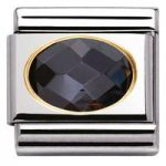 Nomination Charm Composable Classic Faceted Cubic Zirconia Black Steel