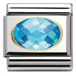 Nomination Charm Composable Classic Faceted Cubic Zirconia Light Blue Steel