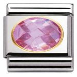 Nomination Charm Composable Classic Faceted Cubic Zirconia Pink Steel