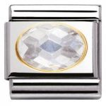 Nomination Charm Composable Classic Faceted Cubic Zirconia White Steel