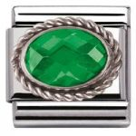 Nomination Charm Composable Classic Faceted Emerald Green Cubic Zirconia Steel