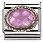 Nomination Charm Composable Classic Faceted Pink Cubic Zirconia Steel
