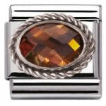 Nomination Charm Composable Classic Faceted Smokey Cubic Zirconia Steel