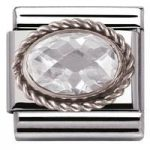 Nomination Charm Composable Classic Faceted White Cubic Zirconia Steel