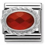 Nomination Charm Composable Classic Hard Stones Red Agate Steel