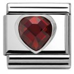 Nomination Charm Composable Classic Heart Shaped Faceted Cubic Zirconia Red Steel