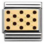 Nomination Charm Composable Classic Lace and Cashmere Dots Plot Black Steel